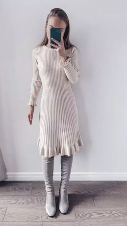 Платье светлый беж теплое трикотаж зима новое