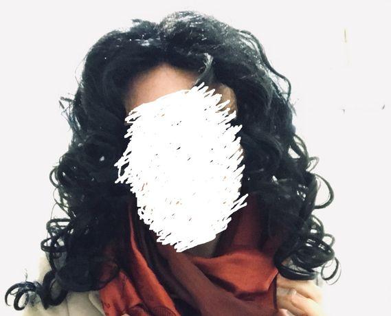 Парик чёрный волнистые волосы