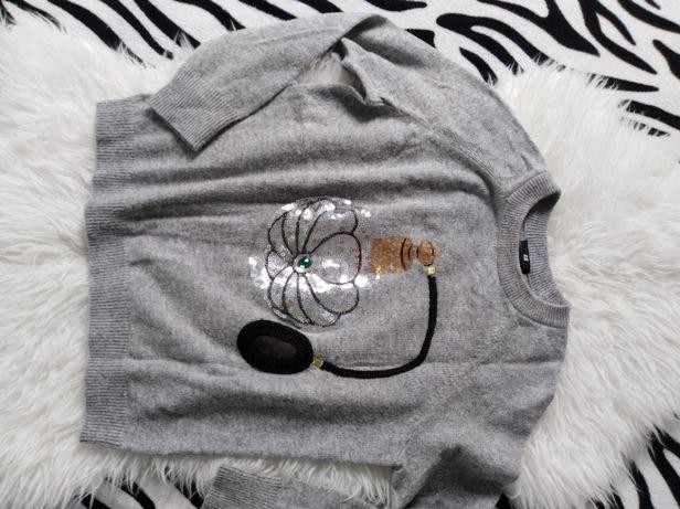Szary sweter z wełną H&M roz M
