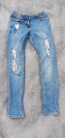 Spodnie jeans, koronka