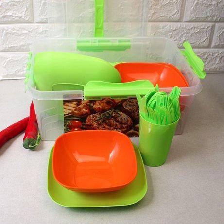 Набор посуды многоразовой для пикника на 6,10 и 12 персон