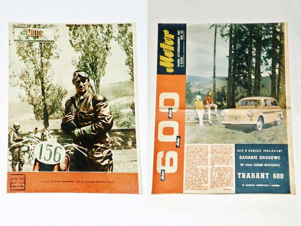 '' Motor '', tygodnik z PRL ; Nr 35 z 1954 i Nr 43 z 1963 -Trabant 600