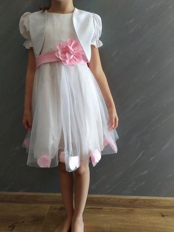 Sukienka wesele dziewczynka 122 - 130 plus bolerko.