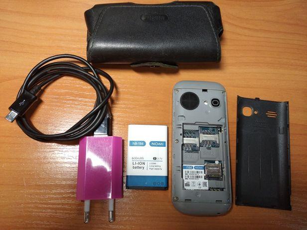 NOMI I184 телефон рабочий в отличном состоянии, micro SD 128mb в компл