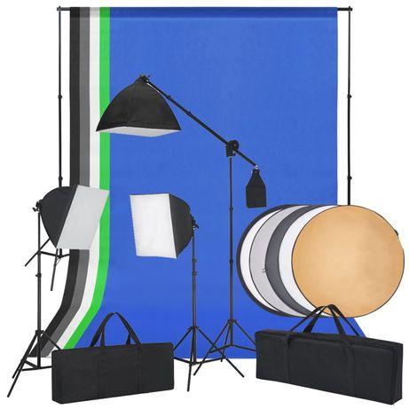 vidaXL Kit estúdio fotografia c/ luzes softbox, fundos e um refletor 190213