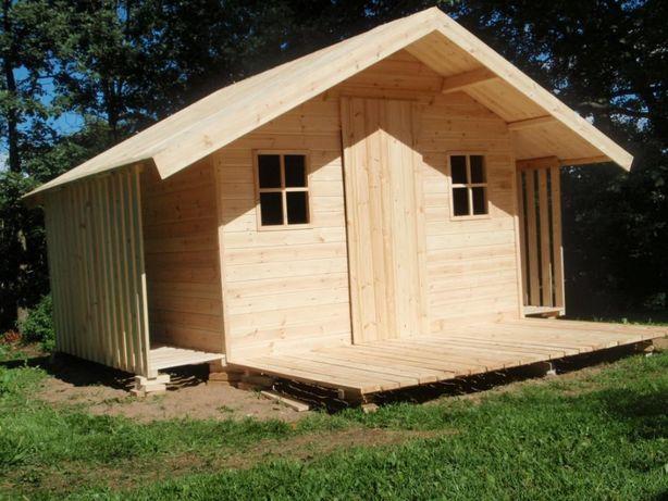 Domek drewniany 4m x 2,5m (taras oraz 2 drewutnie)