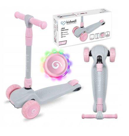 Hulajnoga trójkołowa balansowa dla dzieci koła LED różowo-szara, NOWA