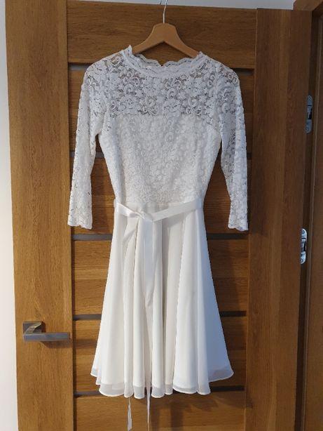 Sukienka na ślub cywilny / kościelny / przyjęcie. Biała/creme. S / 36