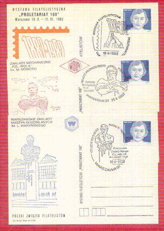 Kartki 100-lecie Polskiego Ruchu Robotniczego 1982 rok 2 zł za 3 szt.