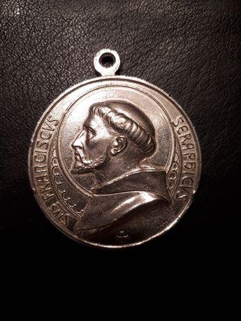 Stary Srebrny Medal Świętego Franciszka Z Asyżu