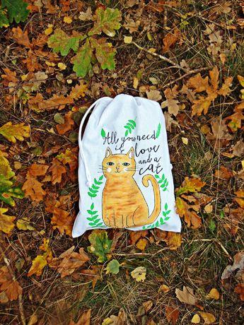 Woreczek ręcznie malowany kot