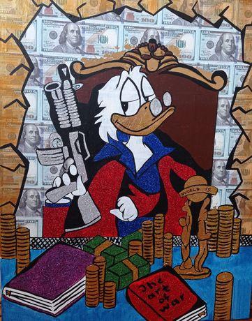Картина Скрудж Денежный магнит золото доллар  мужской подарок