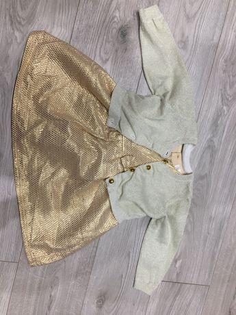 Komplet swiateczny, sukienka świąteczna, sweterek, rozmiar 74