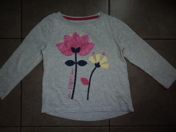 F&F bluzka dla dziewczynki dłuższy tył kwiaty 110cm
