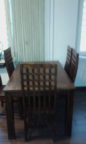 Stół z drzewa różanego + krzesła