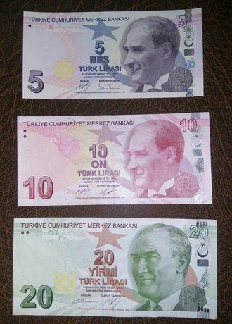 Набор банкнот Турция 5, 10, 20 лир 2009 год