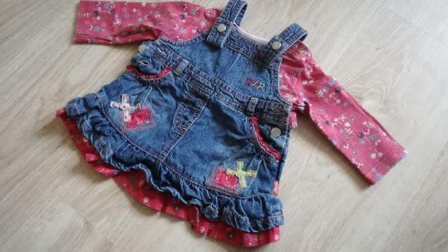 Zestaw, komlecik, sukienka jeansowa + bluzeczka, rozm 62