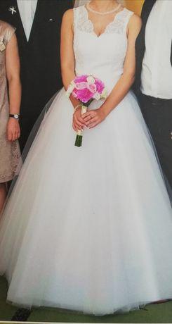 Suknia ślubna szyta na miarę piekna super stan roz. S