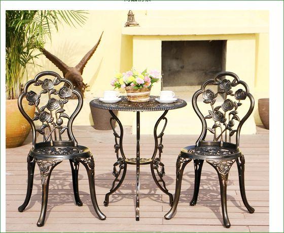 Zestaw meble ogrodowe balkonowe tarasowe żeliwne STÓŁ + 2 KRZESŁA brąz