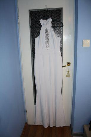 Biała długa suknia suknia ślubna syrenka z koronka na biuście