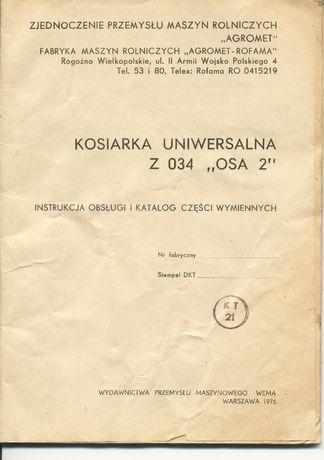 Katalog części kosiarka Uniwersalna Osa 2 Z034