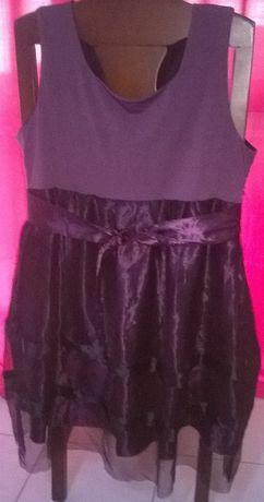 Vestido roxo com tule preto-Artigo Novo