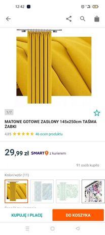 Zasłony gładkie żółte
