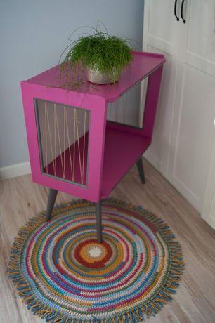szafka stolik rtv prl po renowacji różowa z żyłkami retro vintage