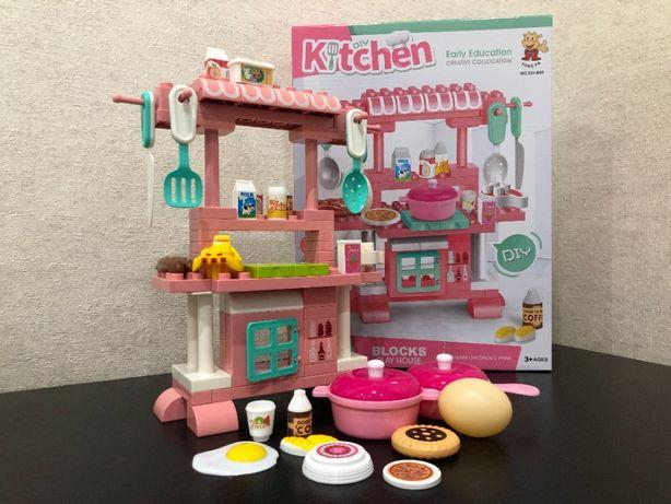 Детская игрушечная кухня конструктор для девочек, игровой набор Кухня