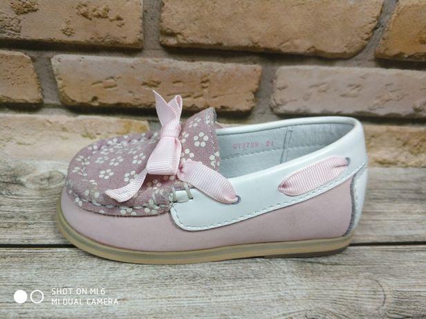 Мокасины для девочки натуральная кожа Flamingo c 18 по 23 размеры