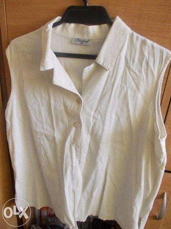 lniana rozpinana bluzka bez rękawka roz 46-48