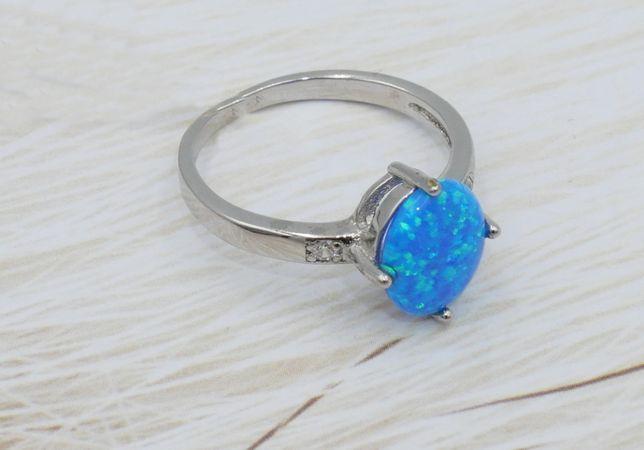 Srebrny pierścionek 925- opal australijski syntetyczny-rozmiar 14