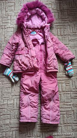 Комплект зимний Куртка и комбинезон + варежки в подарок