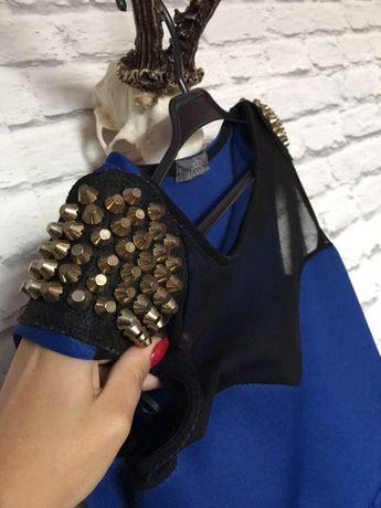 Sukienka granatowa z baskinką ćwiekami mini sexi siateczka ćwieki