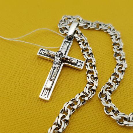 Комплект! Серебряная цепочка с крестиком. нательный крест и ланцюжок