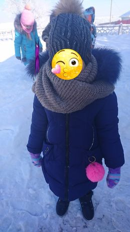 Зимний пуховик пальто на девочку 4-6лет. Натуральный мех