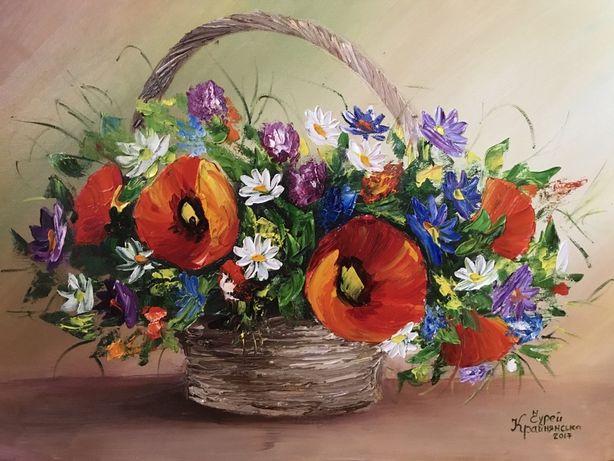Полевые цветы, картина маслом, нарюрморт маки ромашки картина на кухню