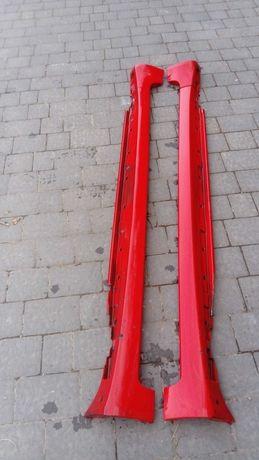 Progi próg nakładki listwy audi a4 b6 b7  s line czerwone lz3m