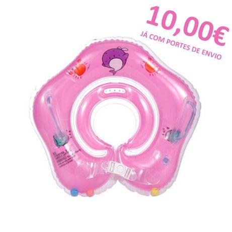 Bóia insuflável de pescoço para bebé NOVA - Azul e Rosa