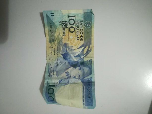 Duas notas de 100 escudos 1986 SEGUIDAS
