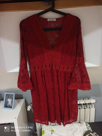 Sukienka mocna czerwień koronkowe śliczna M/L