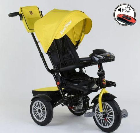 Велосипед трехколёсный с ручкой, надувные колёса поворот сидения ровер
