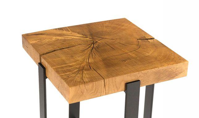 stolik kawowy ELIZA z litego drewna dębowego loft