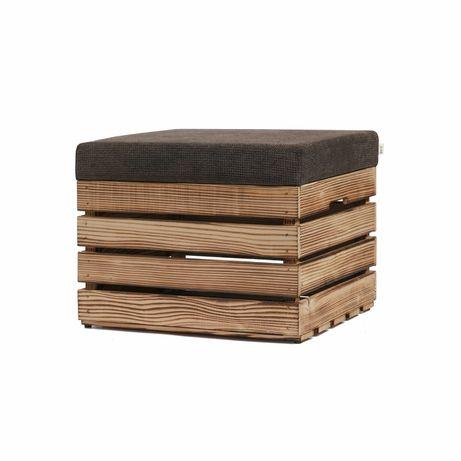 Drewniana, otwierana pufa, skrzynka 50x40x37 – Naturalna,opalana,biała
