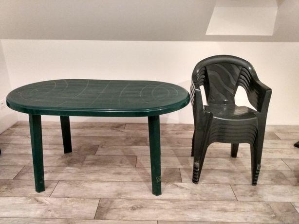 Stół i krzesła ogrodowe plastikowe zestaw
