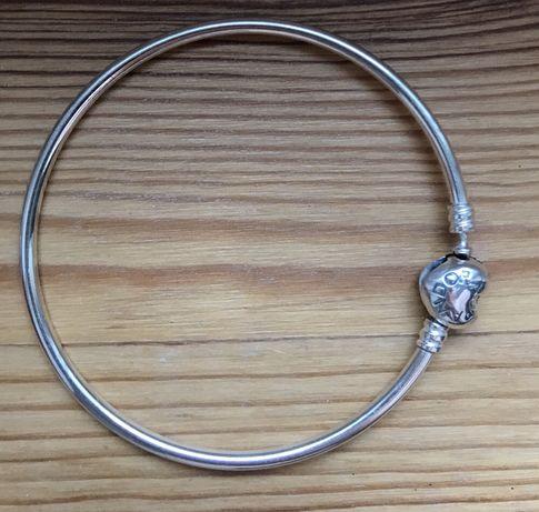 Nowa, oryginalna bransoletka Pandora, bangla, zapięcie serce, r.21