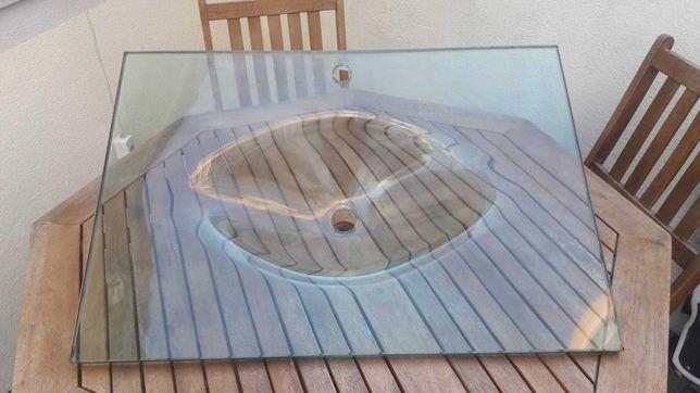Lavatório de casa de banho de vidro transparente