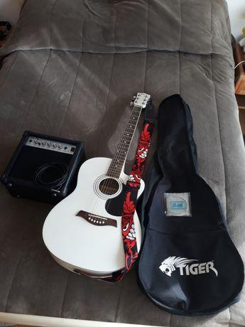 guitarra acústica tiger branca