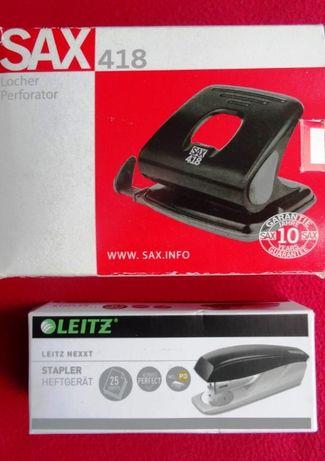 Dziurkacz SAX 418 do 25 kartek, czarny + Zszywacz Leitz nexxt