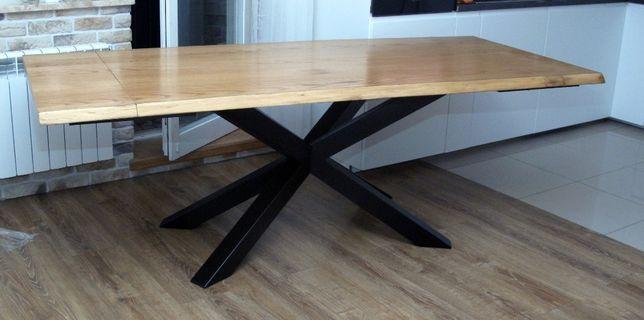 Stół dębowy rozkładany loft 80x160-240 pająk dostawa, montaż w cenie